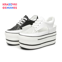 Krasovki Women's White Shoes Summer New Mesh Breathable Fashion Platform Thick Bottom Solid Round Toe Lace Women's Shoes Sandals