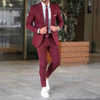 New Burgundy Men Suits for Wedding Suits Pants Groom Tuxedo Groomsmen Man Blazer Jacket 2Piece Slim Fit Dinner Prom Party