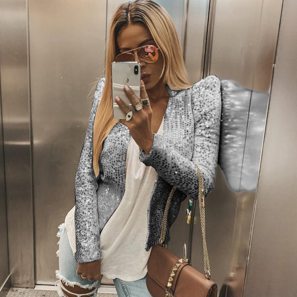 Fashion Women Slim OL Sequins Long Sleeve Blazers Suit Casual Sequins Blazer Jacket Coat Tops Outwear