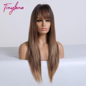 Image 4 - TINY LANA perruques synthétiques lisses longues avec frange, perruques ombrées noires brunes blondes et dorées résistantes à la chaleur pour femmes