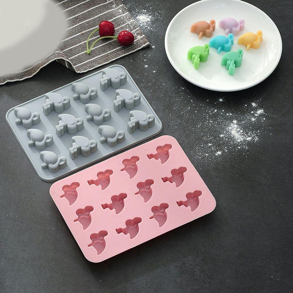 12-Hole 3D DIY Silicone Flamingo Cookies Fondant Cake Soap Maker Cupcake Chocolate Mold Tray Ice Cube Cake Decor Tools Mold