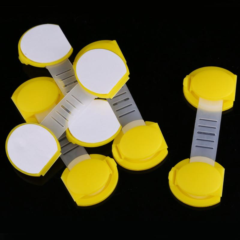 5pcs Set Baby Child Kids Drawer Cabinet Lock Short Style Safety Lock Yellow
