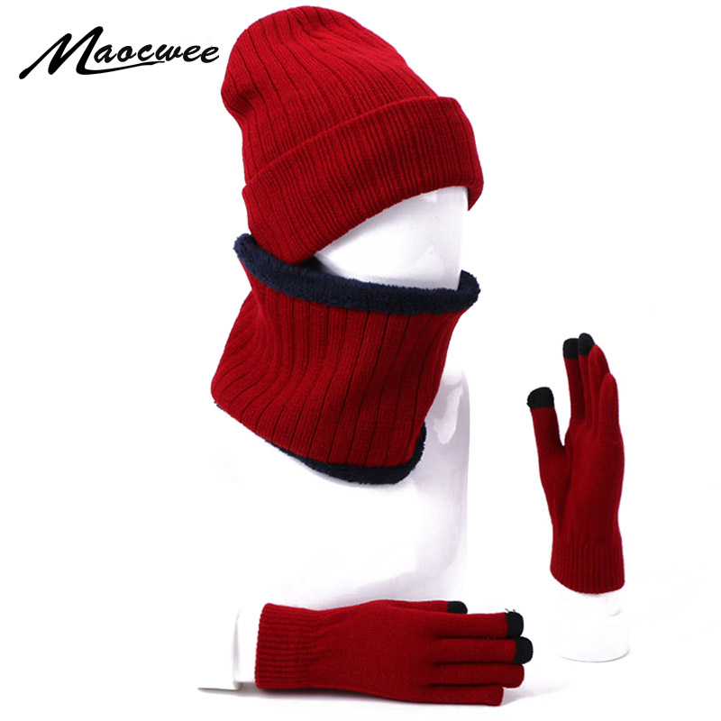 Winter 3Pcs Beanie Cap With Lining Ring Scarves Full Finger Touch Screen Gloves Set For Women Men Outdoor Warm Thick Hedging Cap