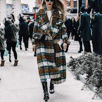 women Fashion Elegant plaid long woolen coat thick warm winter checkered long sleeve turn down collar loose straight overwear