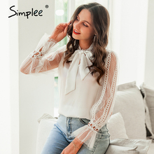 Simplee Butterfly neck ruffle women blouse shirt Long sleeve