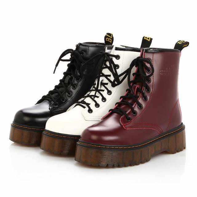 2019 แฟชั่นสีดำ/สีขาว/สีแดงรองเท้าบูท Punk Rock รถจักรยานยนต์รองเท้าซิป Chunky ข้อเท้ารองเท้าบูทรองเท้าส้นสูง Martin boot