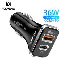 FlOVEME 36W 3A Car Charger PD QC3.0 USB Fast Charging Car Phone Charger Adapter For iphone 12 11 Pro 7 8 Xiaomi Samsung Huawei