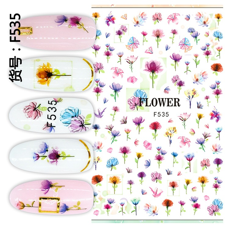 Manufacturers Direct Selling Summer Hot Selling Ultra-Thin-Model Dried Flower Leaf Series Nail Sticker Nail Decorations