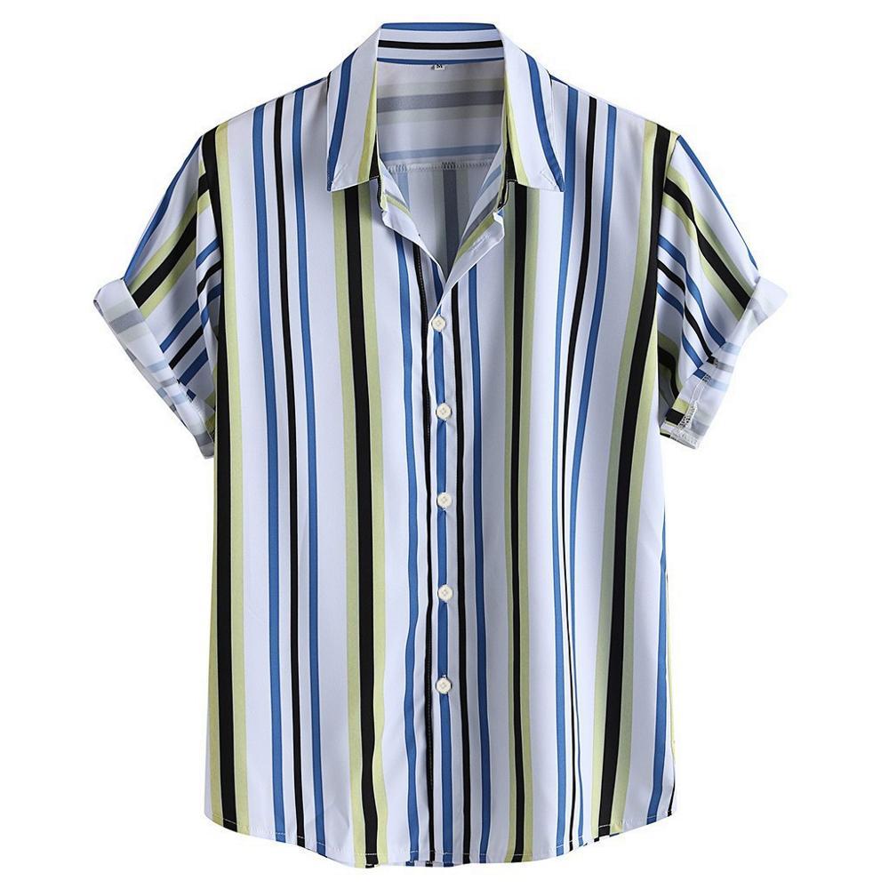 Мужская дышащая рубашка с отложным воротником, Повседневная Свободная рубашка с коротким рукавом и отложным воротником, на пуговицах, 2019|Повседневные рубашки|   | АлиЭкспресс