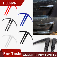 🚗 Heenvn Front Blade Trim For Tesla Model 3 2021 Accessories Matte Carbon Fiber ABS Black White Car Accessories Model3 Three