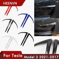 Heenvn-moldura de cuchilla delantera para Tesla modelo 3 2021, accesorios de fibra de carbono mate ABS Negro Blanco, accesorios para coche Model3 tres