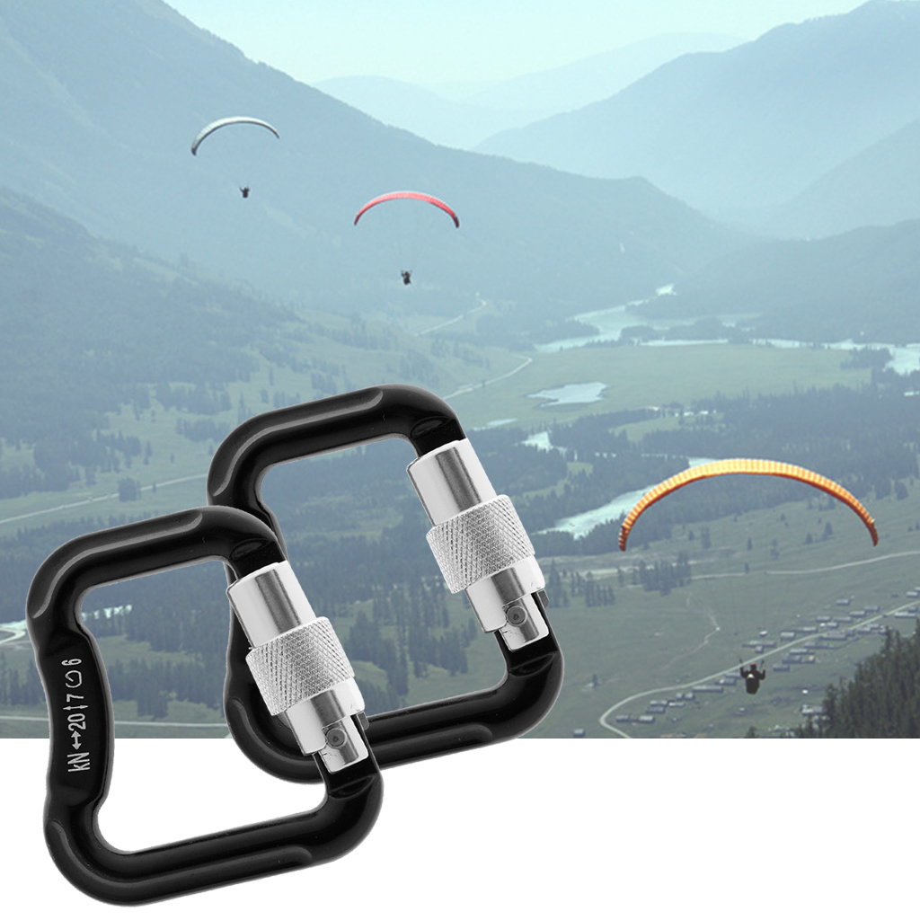 2 Pieces / Set 20KN Abseiling Paragliding Paraglider Parachute Snap Auto Lock Carabiner Outdoor Tools