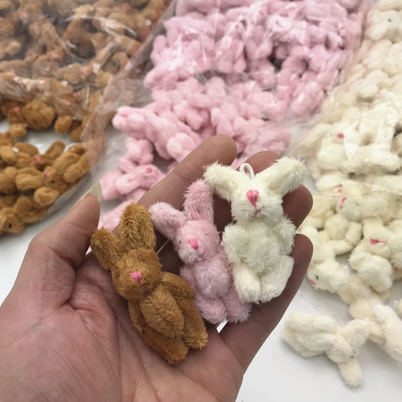 5Pcs Soft Mini Joint Rabbit Pendant Plush Bunny For Key Chain Bouquet Toys For Children 6CM Doll DIY Ornaments Activity Gifts
