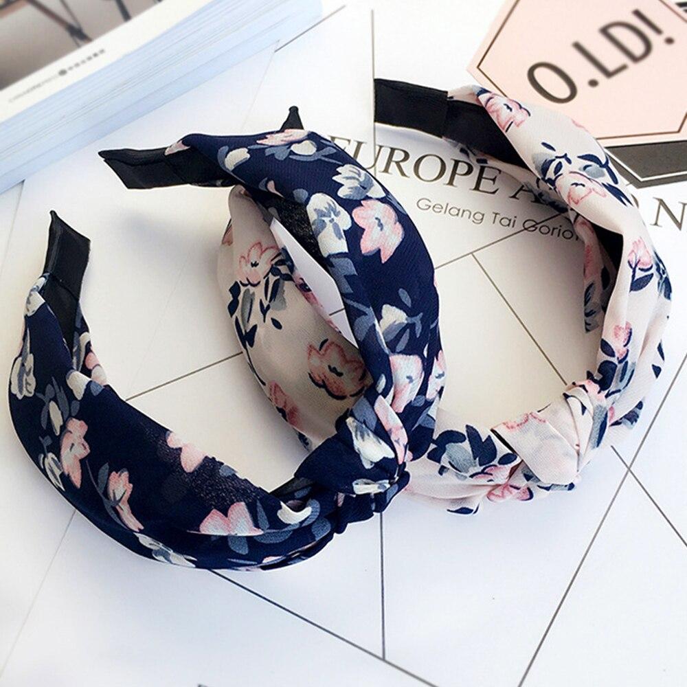 Повязка на голову женская с узлом, модный ободок с цветком вишни, милый обруч для волос с маленькими цветами, аксессуары для волос для девоче...