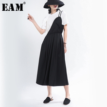 Joint Spaghetti-Strap Pleated Dress New Fit-Fashion Spring Summer Women EAM Sleeveless
