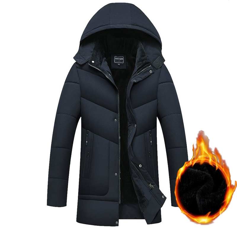 19 Winter Men's Down Jacket Cotton-padded Clothes Mid-length Plus Velvet Thick Cotton Coat Cotton-padded Clothes Men's 513-ma902