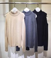 2020 Autumn Sweater Women High end Brand Runway Fashion O neck Chain Long Strapless Sleeve Black / Beige / Gray Top