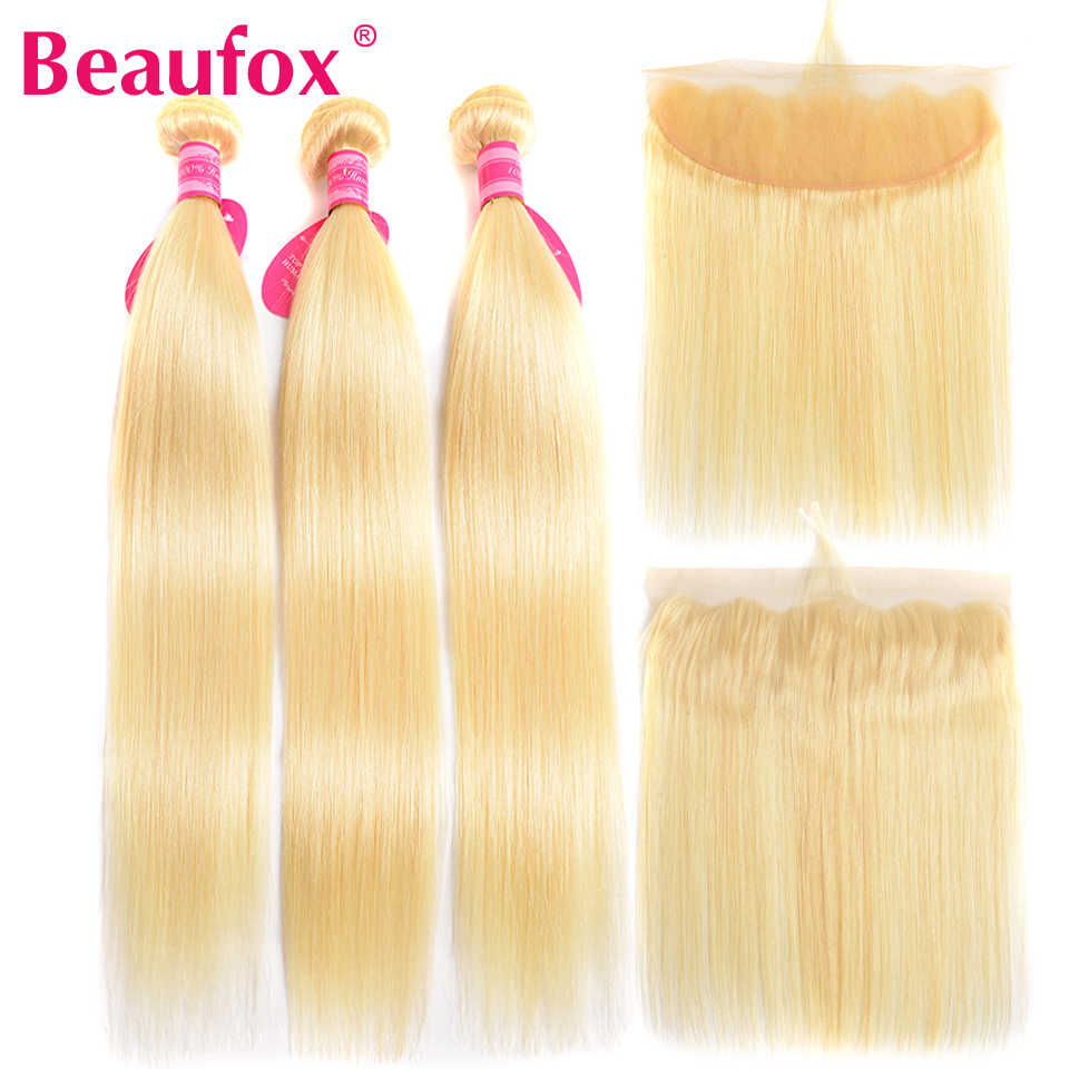 Beaufox 613 Bundles With Frontal Malaysian Straight Hair Bundles With Closure Remy Human Hair Blonde Bundles With Frontal 13*4