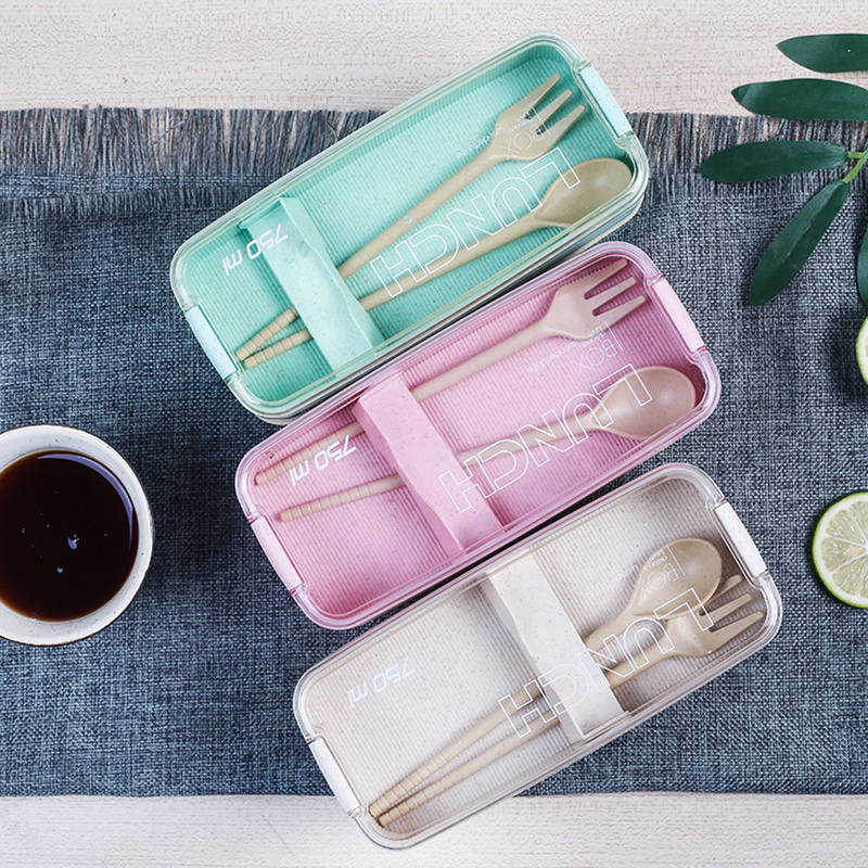 750ml Wheat Straw Bento Boxes Microwave Dinnerware Food Storage Container Lunchbox Organizer 2 Layer Lunch Box Healthy Material
