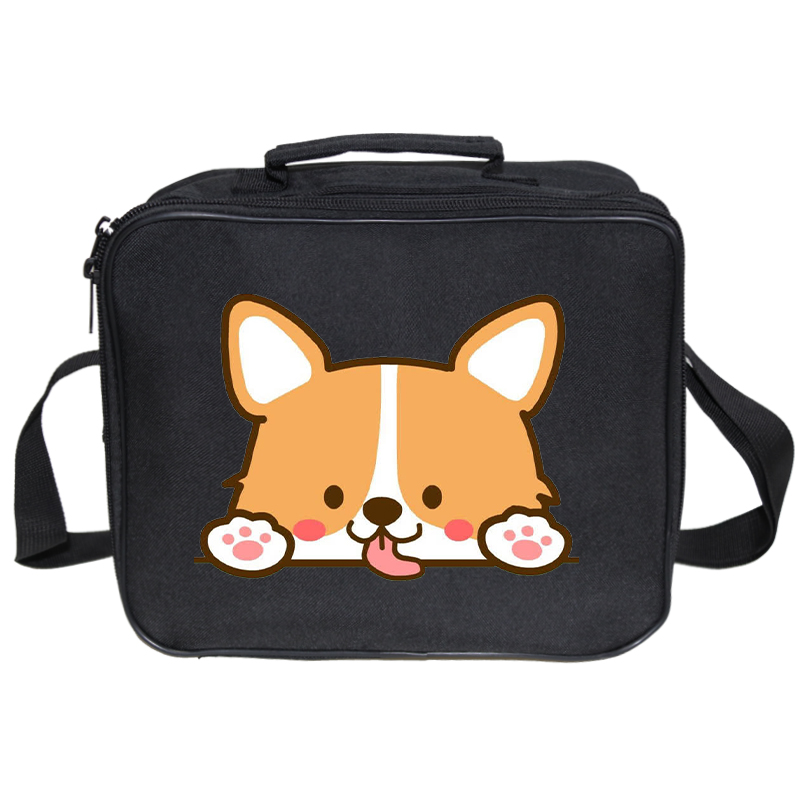 Portable Lunch Bag New  Corgi Dog Print Lunch Box Tote Cooler Handbag Bento Pouch Dinner Container School Food Storage Bags