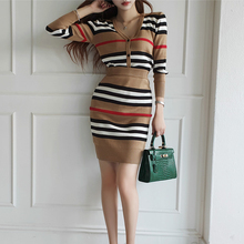 New Autumn 2 Piece Suit Ladies Winter Knitting Striped Korea Long Sleeve V Neck Tops