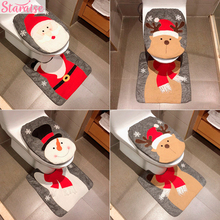 Merry Christmas Snowman Toilet Seat Cover Elk Santa Claus Decor Decoration For Home New Year 2019