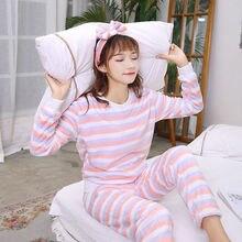 Two piece set Thick Women Pajamas Set Autumn Cute Warm Flannel Sleepwear Casual Homewear Female Pyjamas