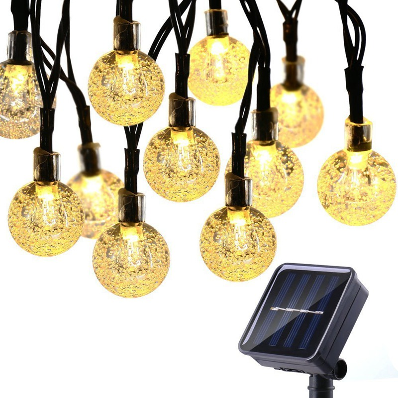 Solar String Lights 80LED 10M Solar Patio Lights With 8 Modes, Waterproof Crystal Ball String Lights