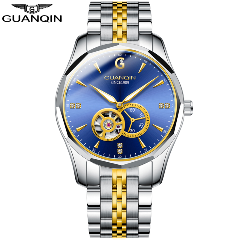GUANQIN  Automatic Japan Watch Men Mechanical Watches Brand Luxury Men Tungsten Steel Waterproof Business Sport Wristwatch