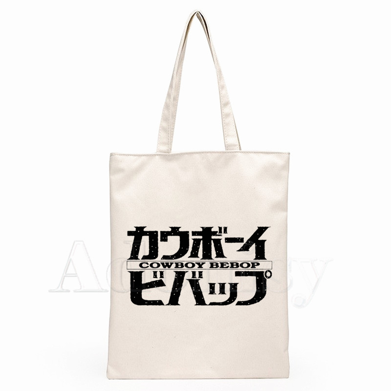 Cowboy Bebop Japanese Anime Movie Ladies Handbags Cloth Canvas Tote Bag Shopping Travel Shoulder Shopper Bags Bolsas De Tela