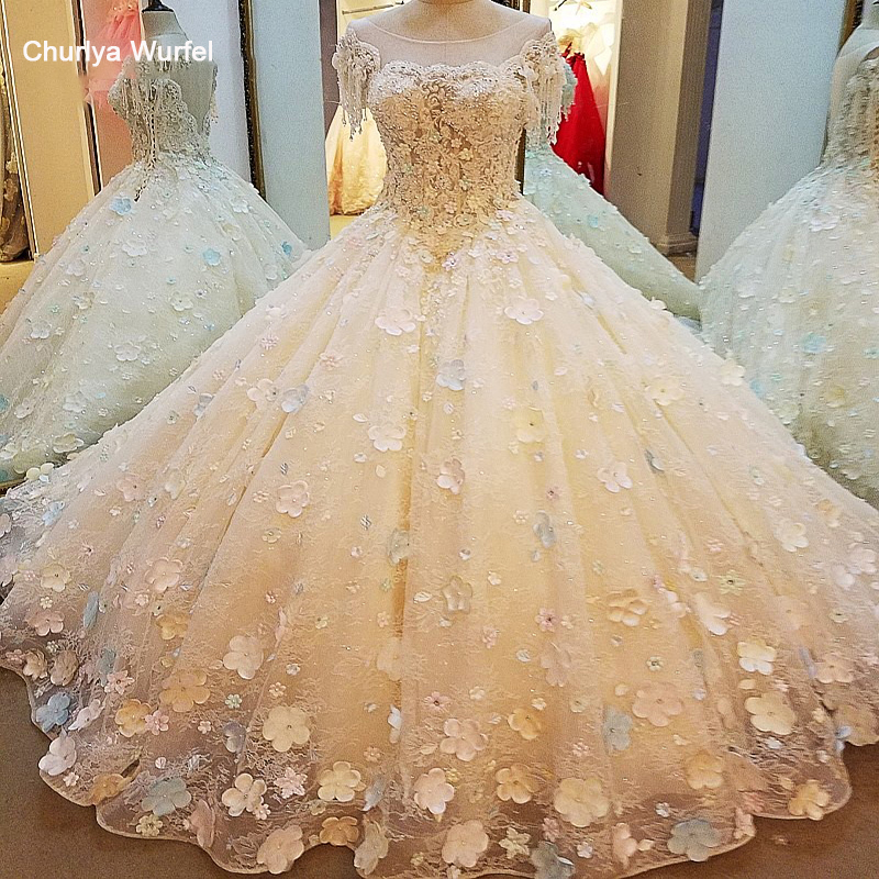 LS00024 Gorgeous Champage Bridal Gown With 3D Flowers Short Sleeves Ball Gown Lace Wedding Dress Vestidos De Noivas Real Photos