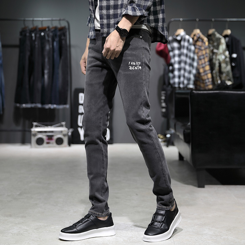 2019 Autumn And Winter New Style Jeans Men's Skinny Slim Fit Elasticity Fashion Gray Men Cowboy Long Pants