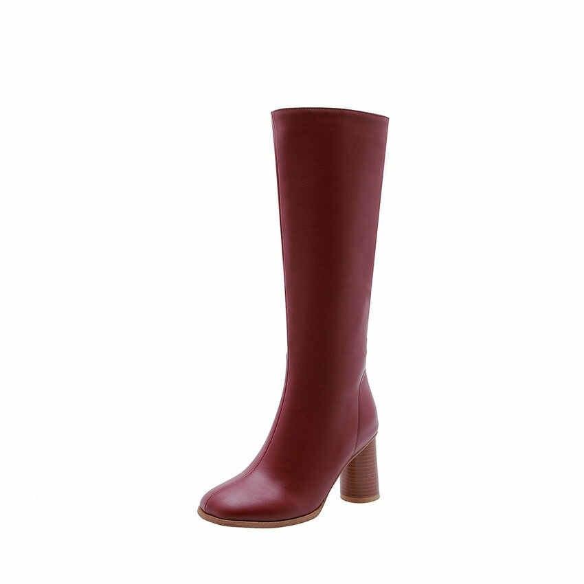 ESVEVA 2020 ayakkabı kadın diz yüksek çizmeler kare yüksek topuk kış PU deri çizmeler ayakkabı boyutu 34-43 kış motosiklet botları
