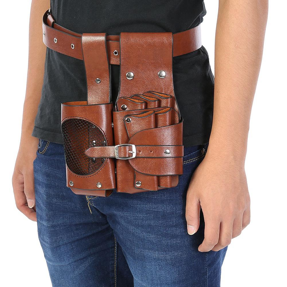 Faux PU Leather Brown Barber Hairdressing Tool Holder Salon Practical Scissors Pouch Organizer Solid Color Waist Bag