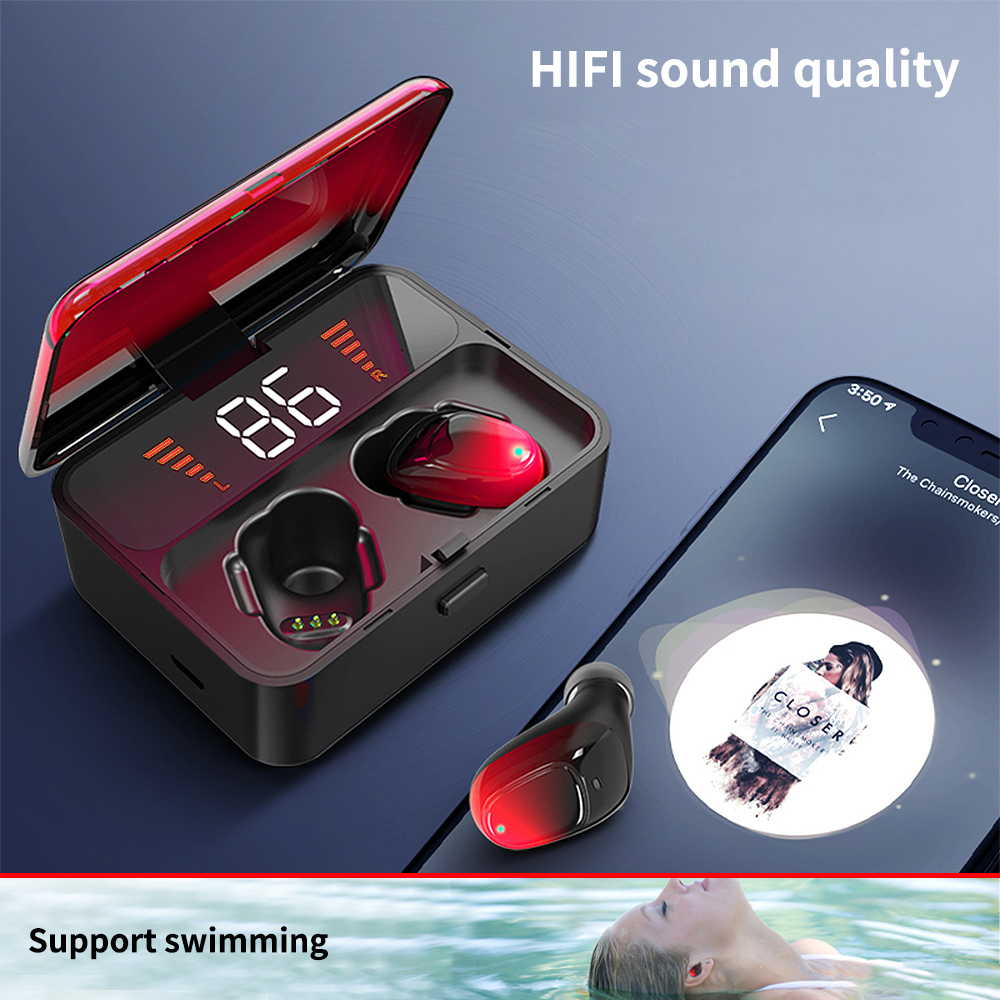 FBYEG ES01 TWS Bluetooth Headphones Waterproof True Stereo V5.0 Touch Wireless Earphones 9D Stereo Sports Handsfree Headset
