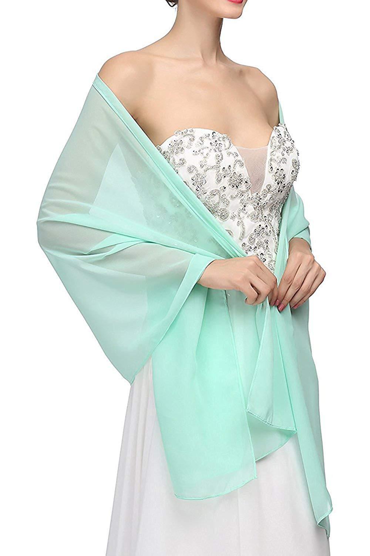 Women's Light Green Chiffon long scarf cape shawl summer wedding party cover arm Cape Shawl 2020 Wedding Shawl VS57