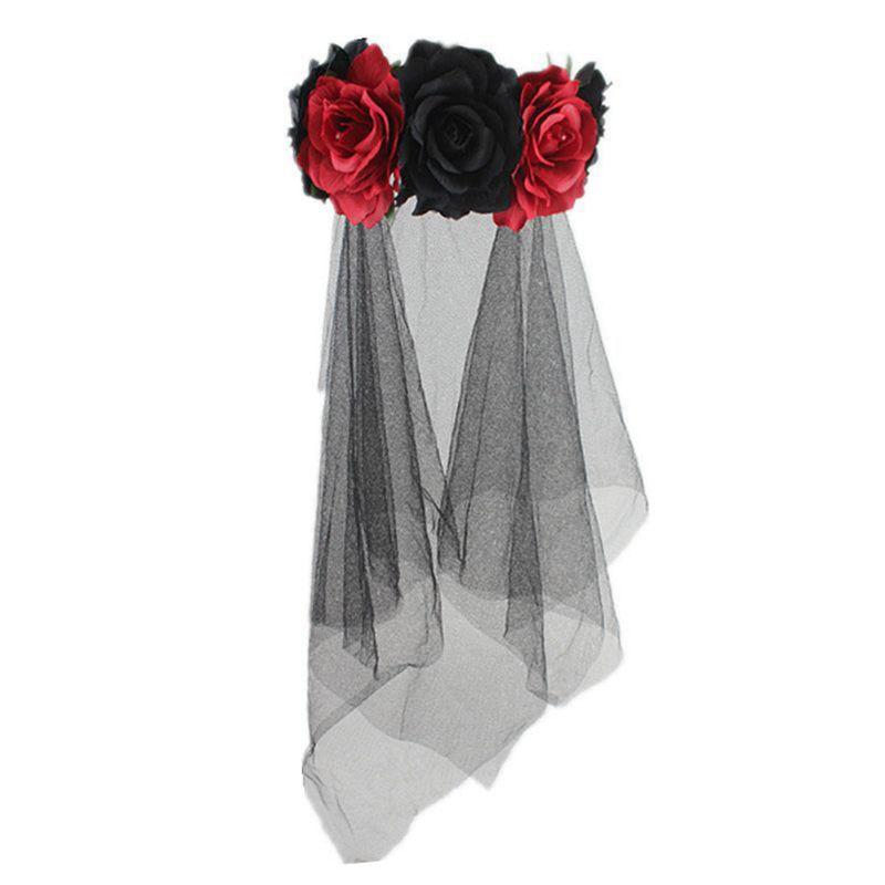 Womens Halloween Wreath Headband Handmade Fabric Rose Flower With Black Mesh Veil Tulle Crown Festival Day Of The Dead Hair Hoop