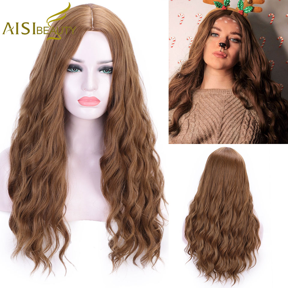 AISI BEAUTY Synthetic Long Wavy Wigs For Women Brown Grey Black Heat Resistant Natural Cosplay Cute Lolita