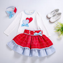 Cutestyles Spring Girls Princess Clothing Set With Baby Headband Heart Design Tops +Red Skirts Kid Clothes Suits EG-DMCS108-C69(Hong Kong,China)