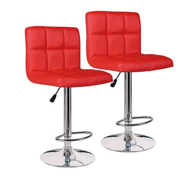 Set of 2 Counter Bar Swivel Chair Counter Stool Height Adjustable Adjustable Swivel Pub Counter Height Bar Dining Chair PU Red wahson tufted round back swivel accent chair contemporary adjustable leather chrome vanity chair lounge pub bar bedroom white