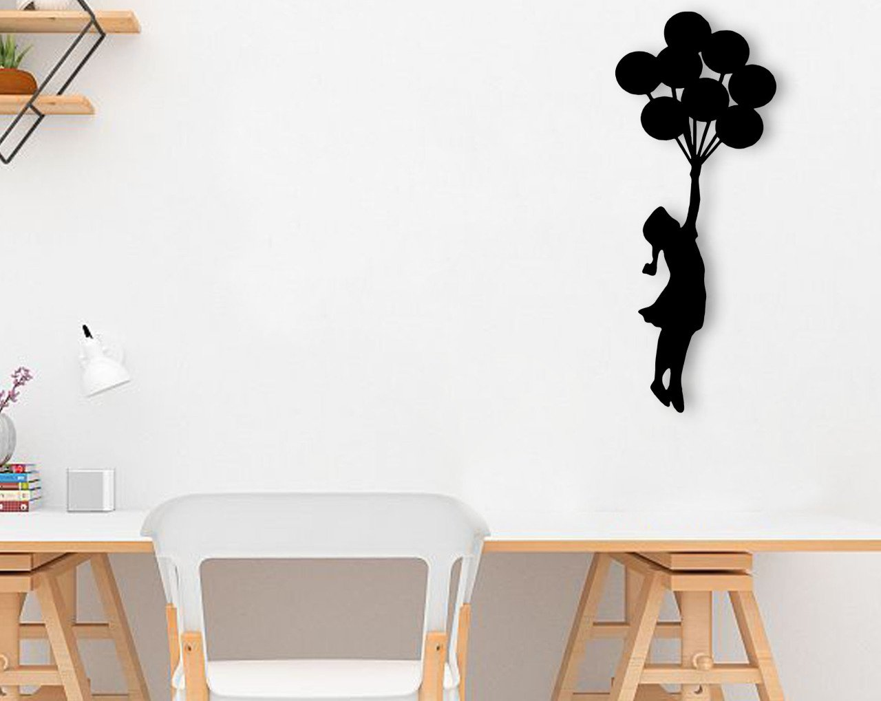 BK Home Flying Balloon Wood Wall Decoration Modern Convenient Reliable Decoration Gift Quality Design Simple Cool Black Color