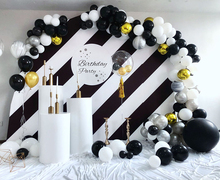 130pcs Marble Balloons Garland Kit Chrome Gold Black White Balloon Arch Birthday Wedding Baby Shower Hollywood Party Decorations