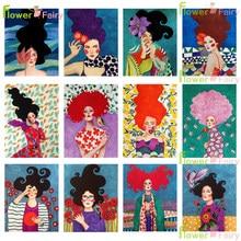 Абстрактная девушка, цветок, птица, Картина на холсте, скандинавский постер, Винтаж, куадро, настенные картины для гостиной, без рамки