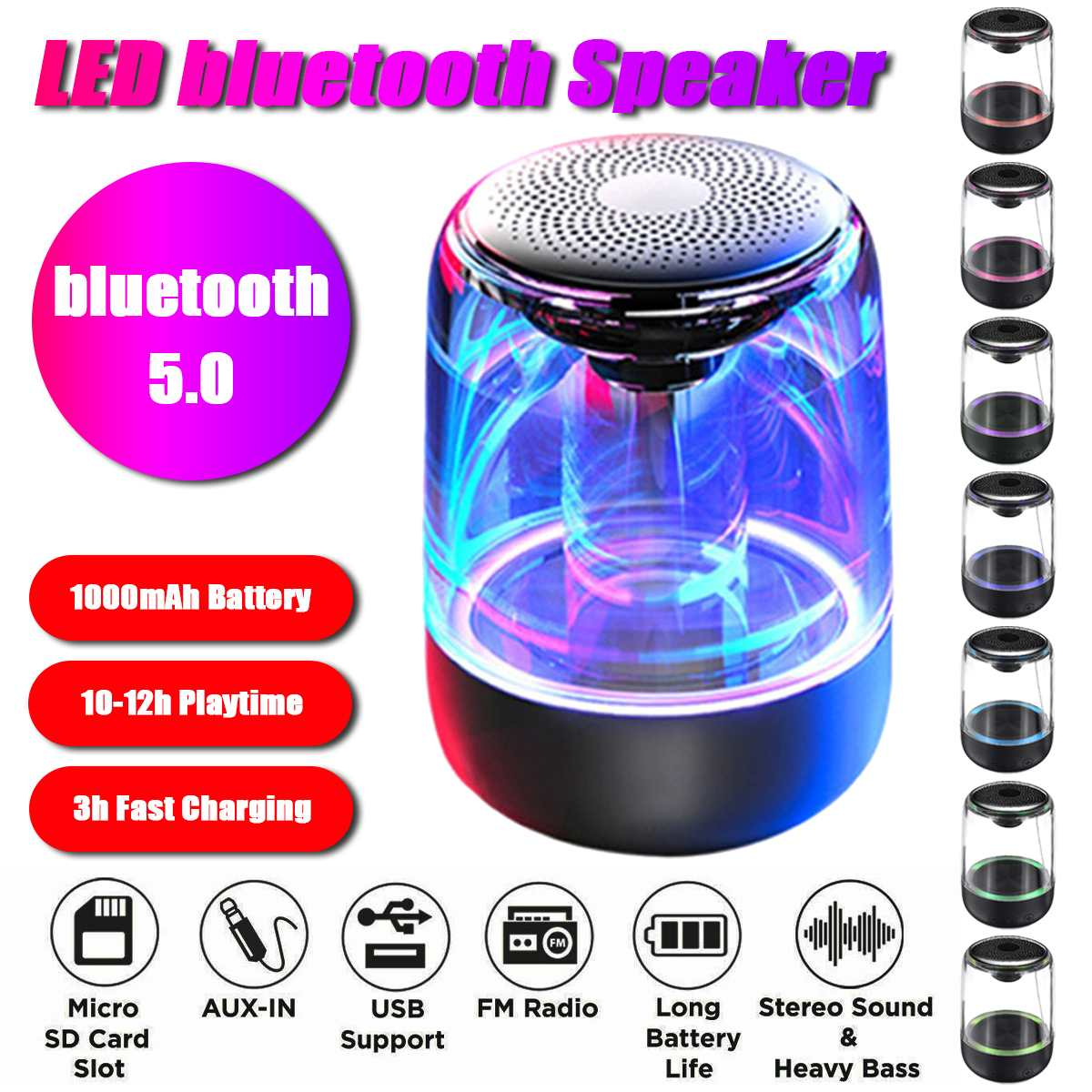 Bluetooth Wireless Speakers Waterproof Stereo Column Portable Subwoofer Speaker Romantic Colorful Light Support TF Card with Mic