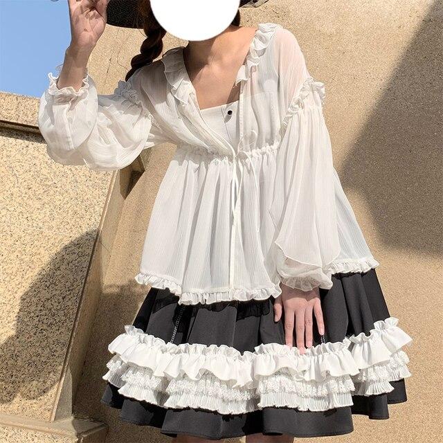 Фото летняя одежда для защиты от солнца блузка в стиле лолиты полупрозрачная цена