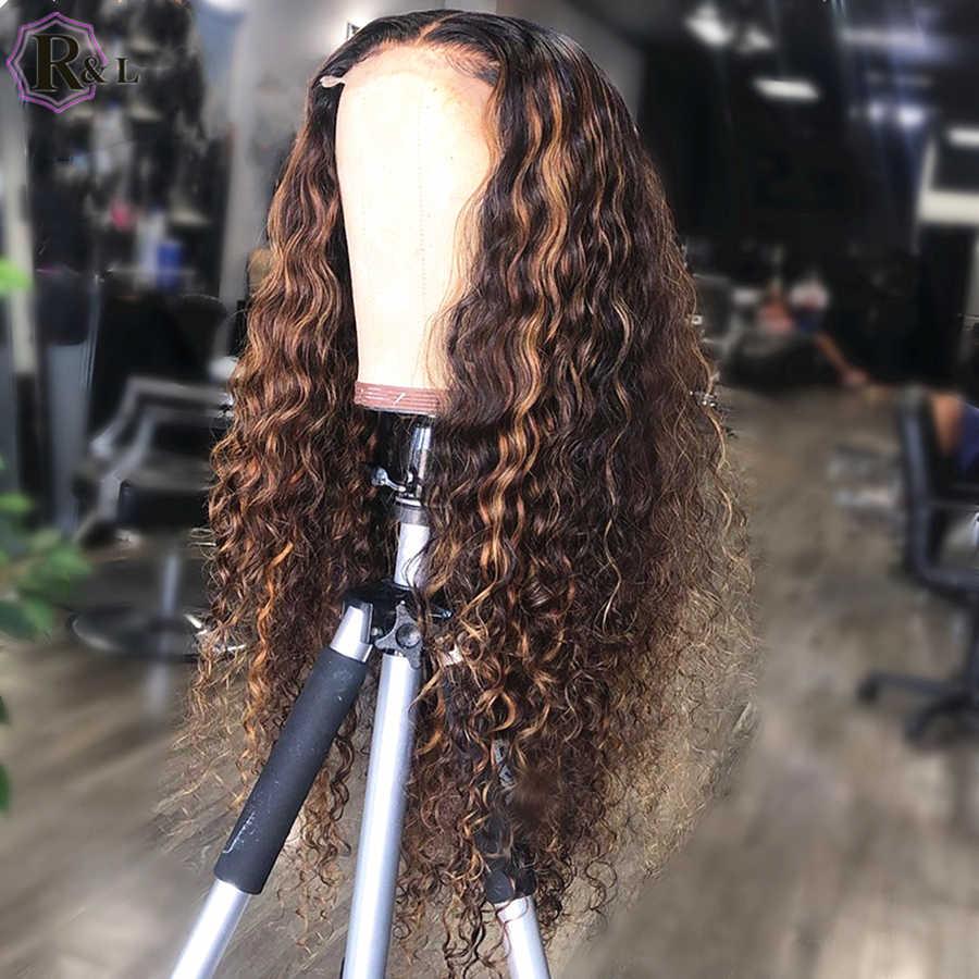 RULINDA, pelucas de cabello humano con rizos de colores y encaje Frontal, cabello brasileño Remy 360, pelucas con encaje Frontal 250% de densidad