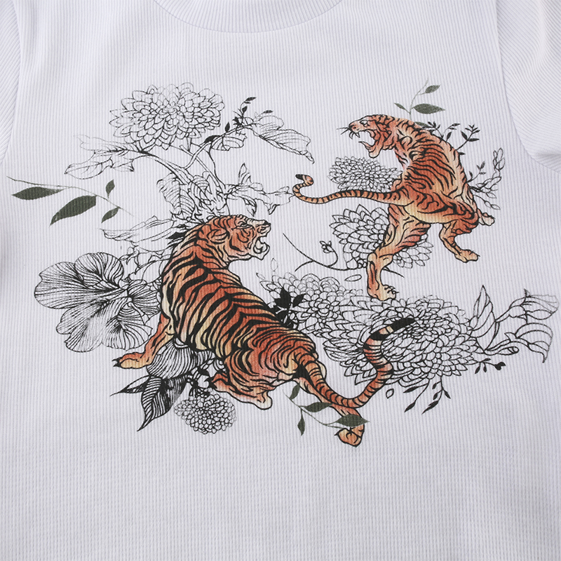 Waatfaak Sexy Tee Crop-Top Short-Sleeve T-Shirts Tiger-Print Basic White Cotton Summer
