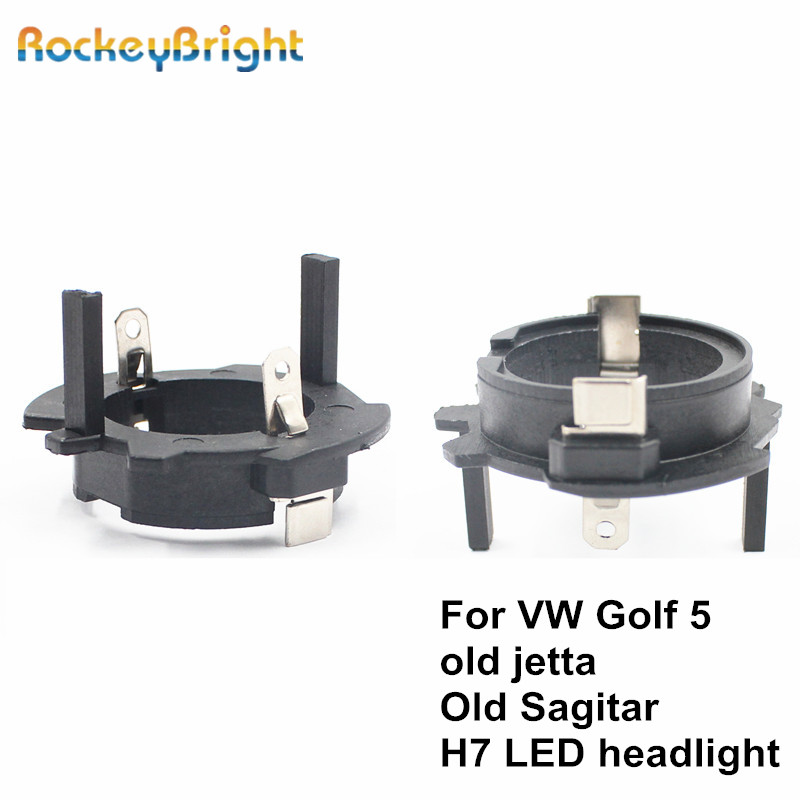 Rockeybright H7 Led Headlight Retainer Clip For Volkswagen OldJetta Sagitar Golf 5 Led H7 Adapter Headlamp Socket H7 Bulb Holder