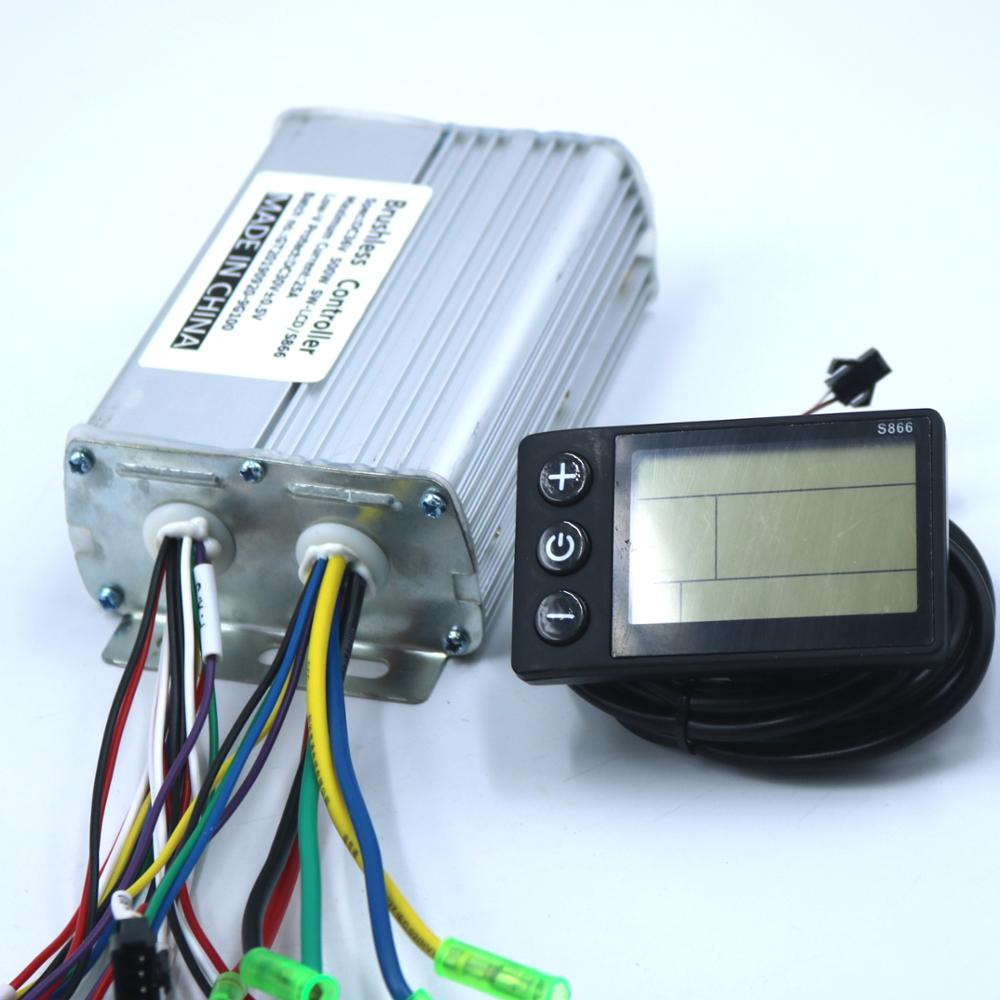 GREENTIME 36V/48V 500W BLDC Electric Scooter Controller E-bike Brushless Speed Driver And S866  LCD Display One Set