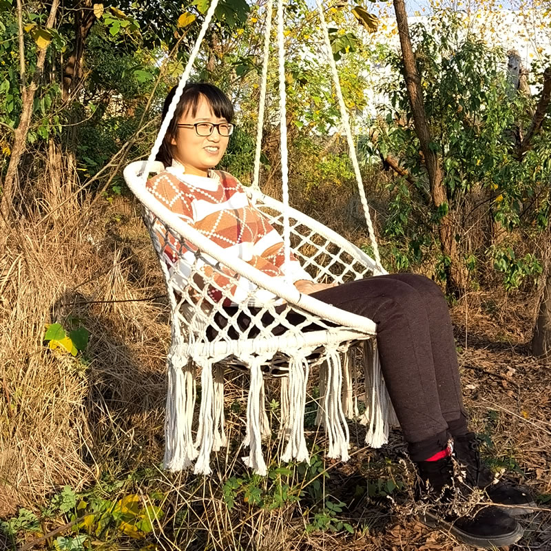 Hammock Chair Rope-Swing Hanging-Kit Wooden Garden Outdoor Cotton Knitting No Beige Nordic-Style